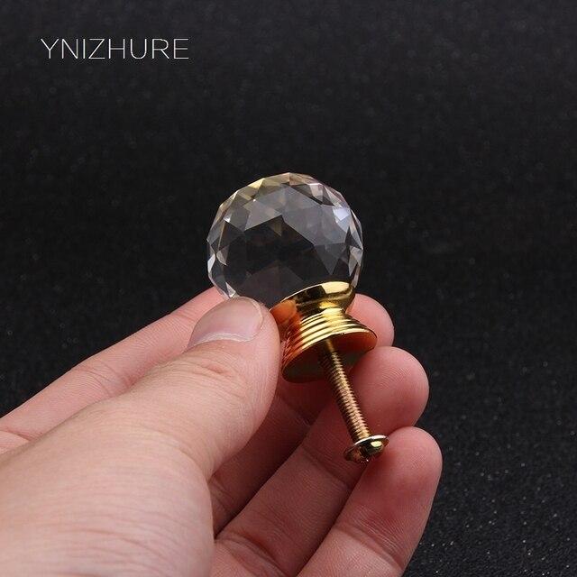 2017 Hot 10 pcs/lot 30mm transparent crystal (ball shape)gold base single door knob/handle/pull cabinet drawer accessory