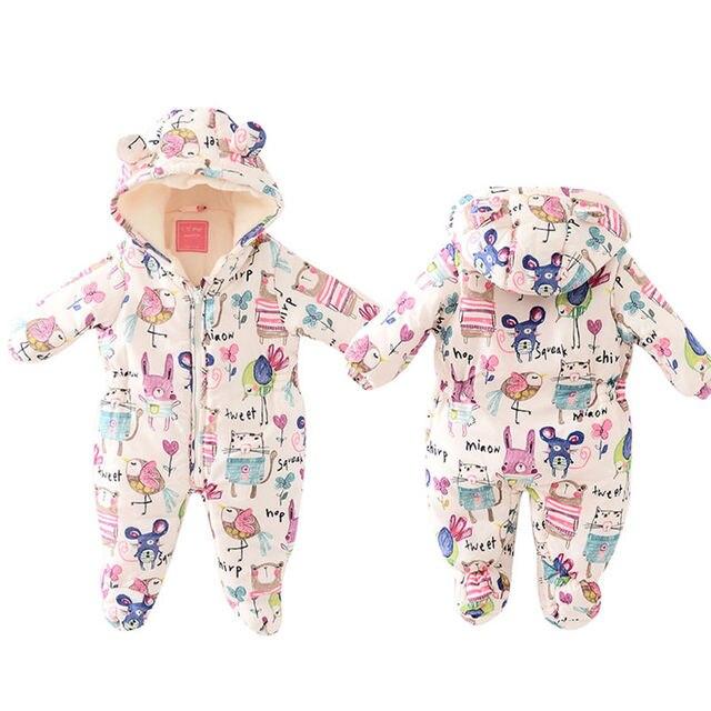 2016 Newborn Infant Baby Girls Boys Winter Hand print Hoodie Jumpsuit Romper Cotton Outwear Warm Bebes Outfits Zipper Rompers