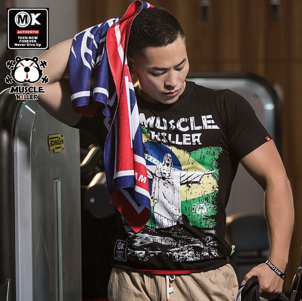 Muscle-killing Fitness For Men Short Sleeve T Jesus Printed Popular Logo Summer Training Dress Hot Style Stretch