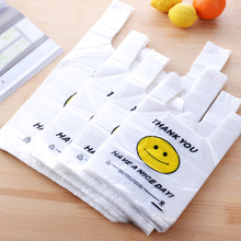 300PCS / LOT Shopping Bag White Transparent Plastic  Supermarket Retailing Bags Hot Selling Handbag