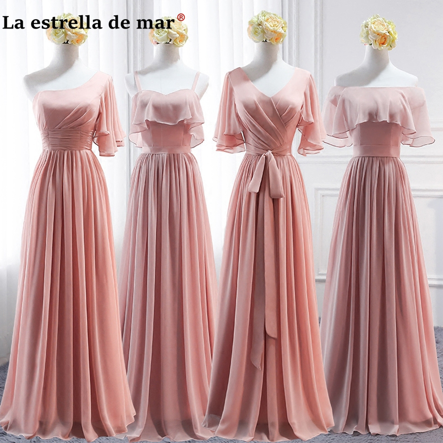 Bridesmaid Dresses Blush Guest-Gown Longo Chiffon Wedding Pink Cheap Casamento Vestido