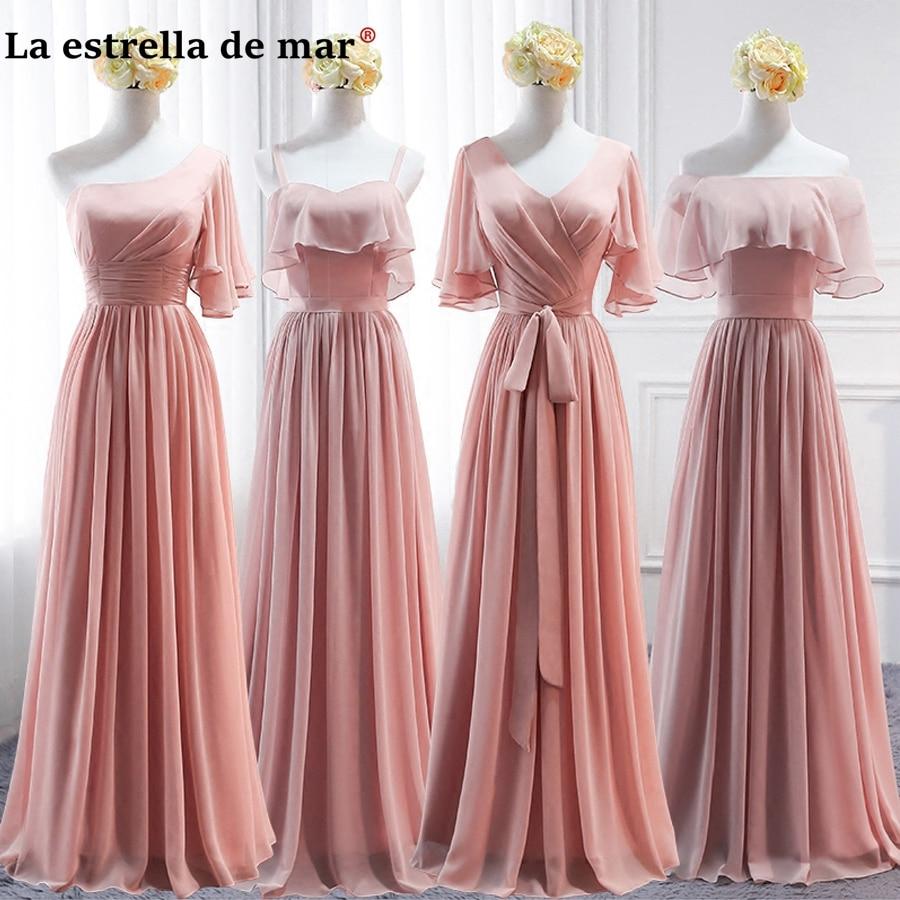 Vestidos de festa vestido longo para casamento new chiffon 6 style blush pink gray bridesmaid dresses cheap wedding guest gown