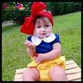 Conjunto de Roupas crianças 3 pcs Set Branca de Neve, fantasia Meninas Roupas de Verão Com Harmonização Headband, Meninas Princesa Desgaste Desempenho