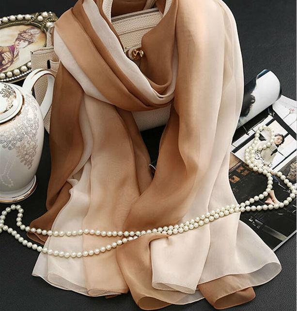 Genuine Mulheres Lenço de Seda Lenços de Moda Gradiente De Cor de Café 2016 Primavera Verão Inverno Xale de Alta Qualidade