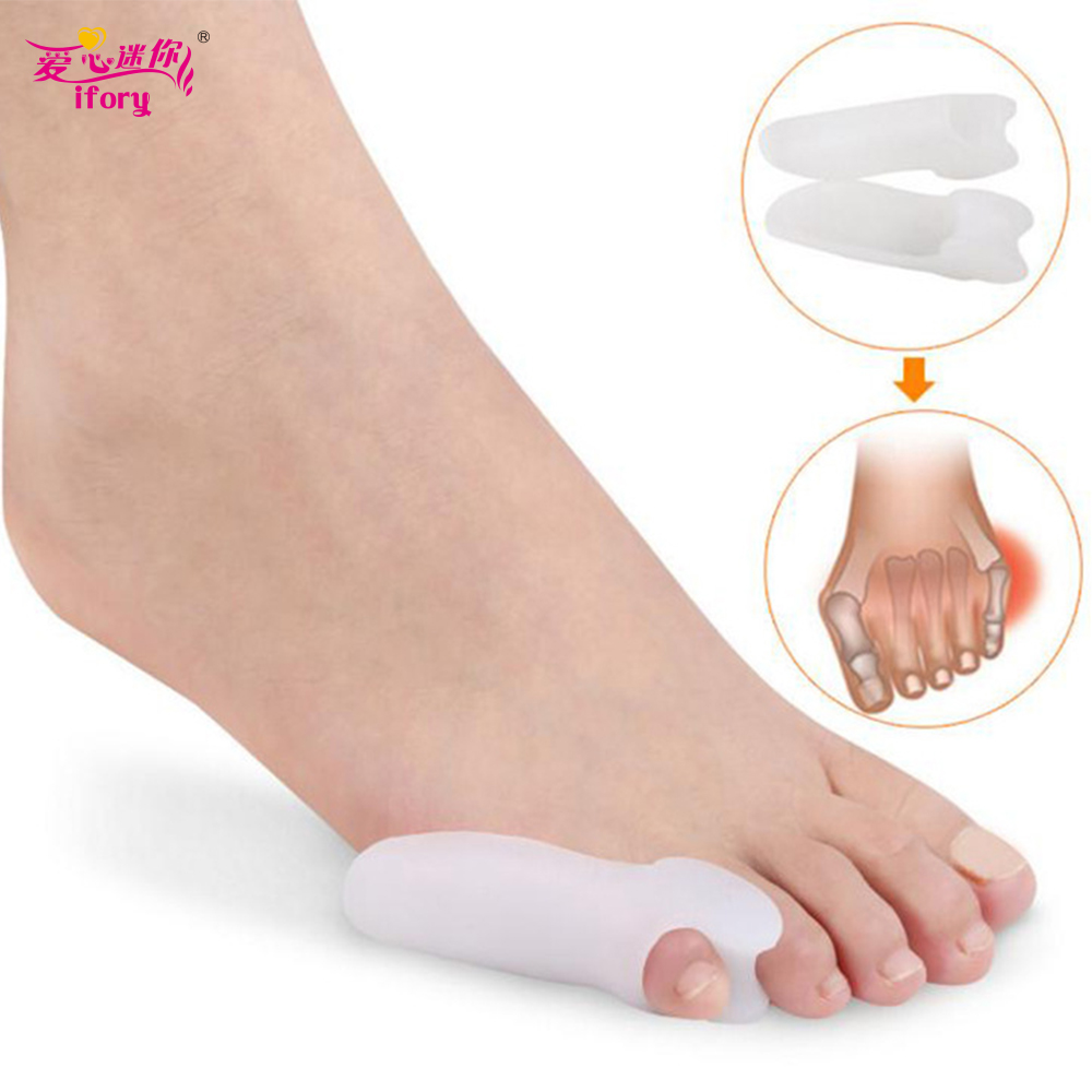 Ifory 2 Pieces Silicone Gel Foot Fingers Little Toe Separator Silicone Toe Inverted Orthotic Foot Pain Protector Foot Care