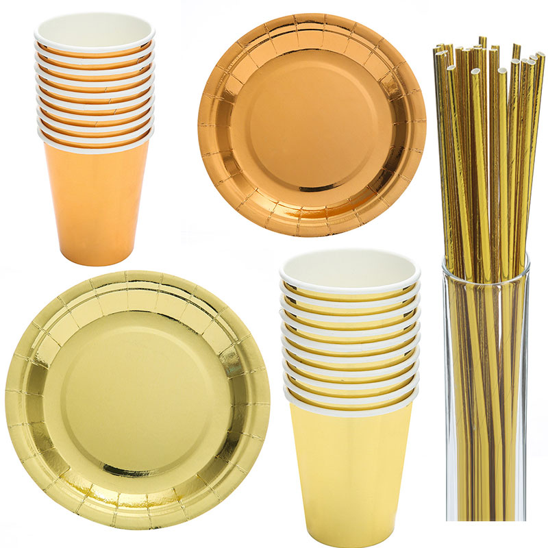 Set Of Silver And Gold Plates,Table Cover Cup Christmas Fancy Party Tableware