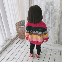 2018 Fall Winter Baby Kids Multicolored Knitted Sweaters Little Girls Fashion Rainbow Colored Knitwear Children's Pullovers X249