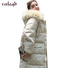 96921e9d8f08 Fdfklak große größe lose unten jacke frauen winter jacke pelz haube baumwolle  mantel starke lange weibliche