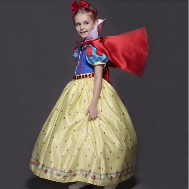 2016 New Girls Clothes Cinderella Dresses Children Snow White Princess Dresses Rapunzel Aurora Kids Party Halloween Costume F103
