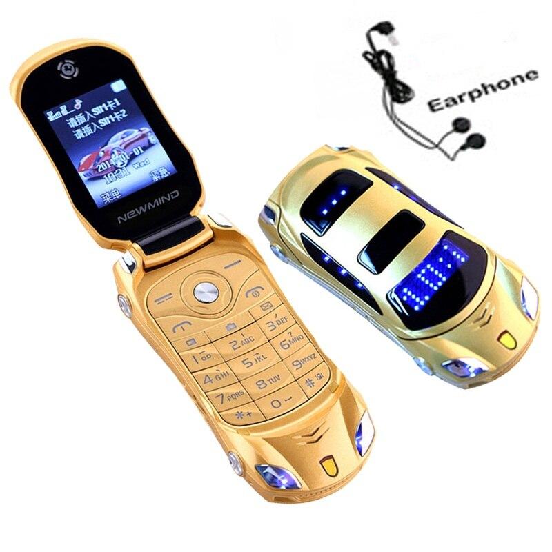 Newmind F15 Flip Entsperrt Taschenlampe Dual Sim Karten Mp3 Mp4 Super Kleine Handy Auto Form Modell Mini Mobilen Studenten Zell telefon