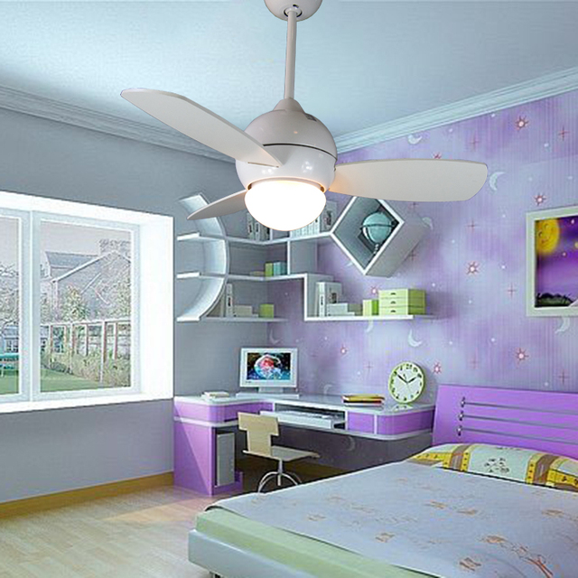 34inch Small Ceiling Fan Light With Remote Control White Children Bedroom Dining