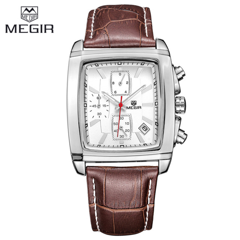 Megir Square Fashion Casual Military Chronograph Quartz Watch Men Luxury Waterproof Analog Leather Wrist Watch Man Quartz-watch цена и фото