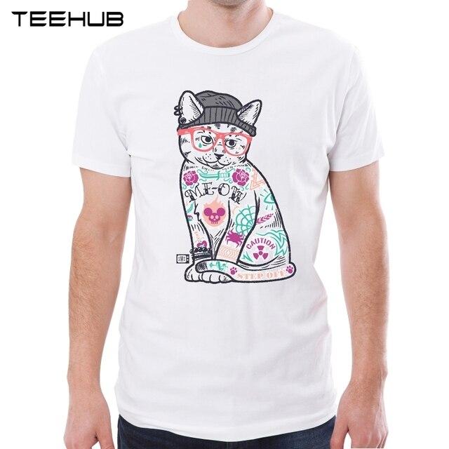 TEEHUB 2019 新着男性のファッションエレガントな猫プリント半袖 Tシャツ男性のクールなトップスカジュアル O ネックソフト Tシャツ