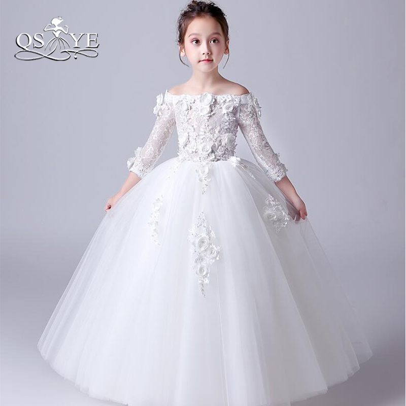 QSYYE 2018 Ball Gown Flower Girl Dresses Girls First Communion Dress ...