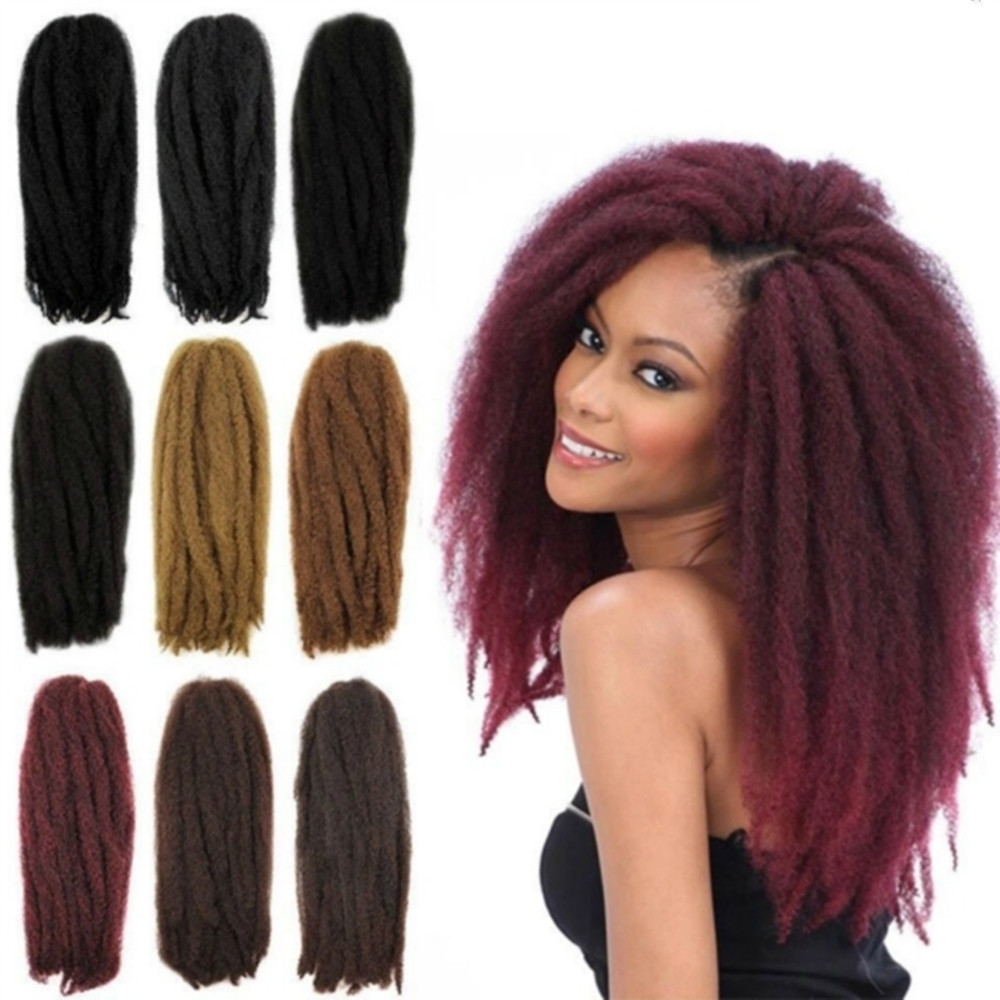 Wholesale Afro Kinky Twist Braid Curly Synthetic Hair Bulk Extensions  Marley Braid 18-20 Inch 65g100% kanekalonTwist Braid Hair 73a8f58c62b8