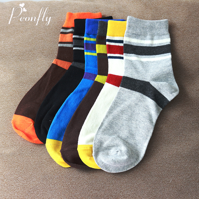 PEONFLY New 2017 Cotton Mens Socks England Style Color Stripe Brand Man Sock For Men Fashion Business Men Socks 10pcs=5pair