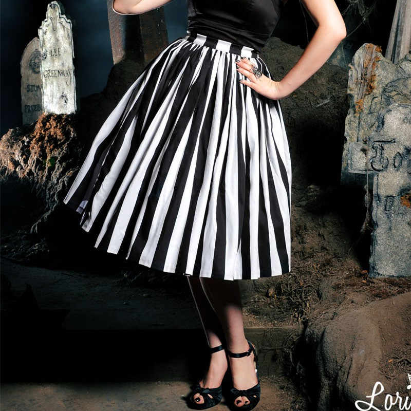 cf0011bc7 ... 30- women vintage 50s goth black white stripe jenny skirt large plus  size swing skirts ...