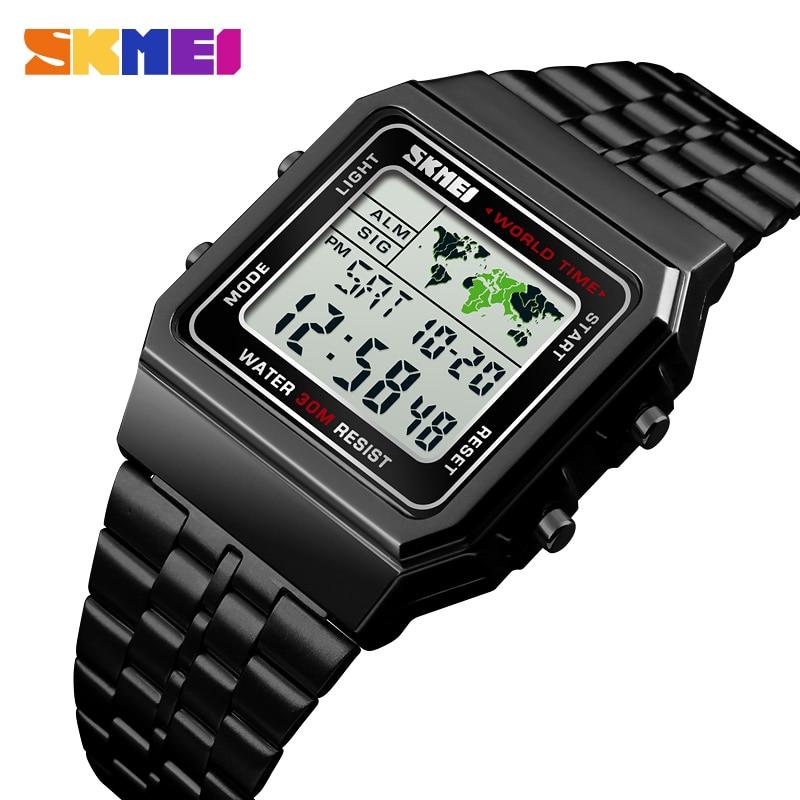 SKMEI Top Luxury Fashion Sport Watch Men Alarm Clock 3Bar Waterproof Stainless Steel Strap Digital Watches reloj hombre 1338-in Digital Watches from Watches