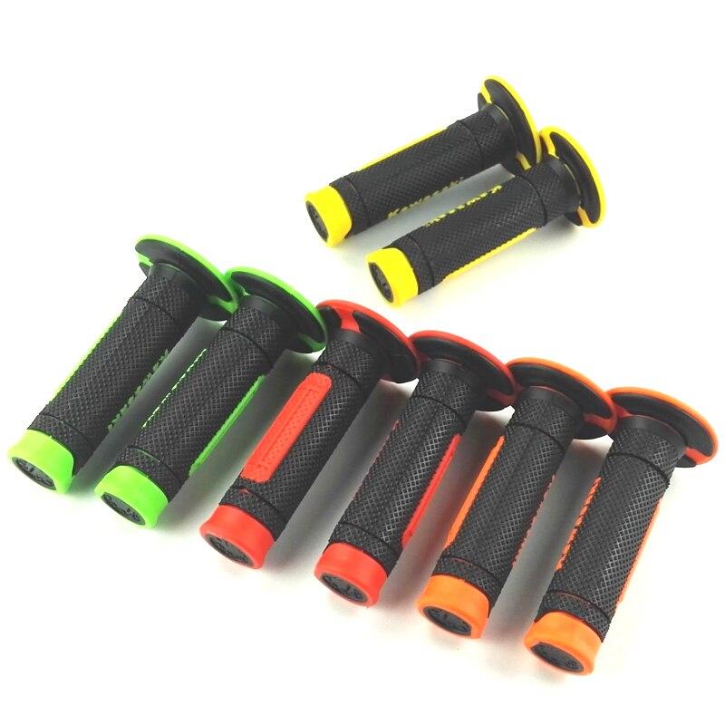 MOTERCROSS 1 Paire Poignées Poignée En Caoutchouc Bar Gel Grip Vert Rouge Jaune Orange Modifié Accessoire pour Kawasaki KLX450R KX450F