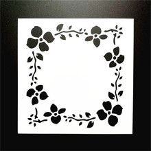 Free Shipping 13*13cm DIY Craft  Flower Frame Design Stencil Template For Wall Painting Scrapbooking Stamping Photo Album Decor