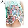 2016 Senhoras do Verão Boho Solto Shorts Das Mulheres Calças Curtas Femme Sexy Mini Praia Aptidão Algodão Crochet Lace flor Imprimir Shorts