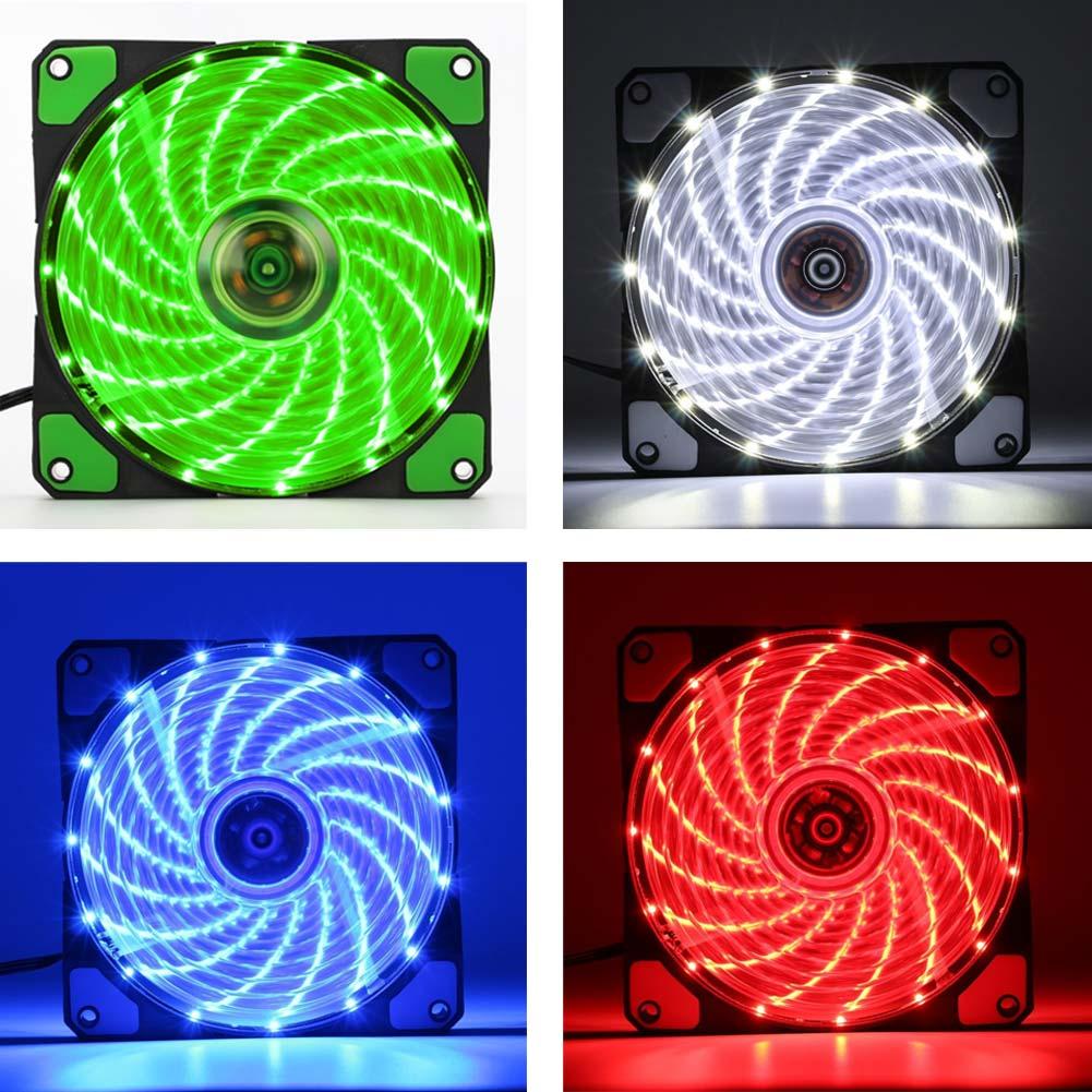 New 12cm Ultra Silent LED Case Fans Light Up 15 Leds Cooling Anti-Vibration PC Computer Heatsink Cooler Fan QJY99 12cm silicone reduced vibration ring for desktop pc white