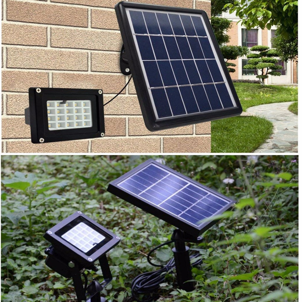 Solar LED flood light 10W 20 LEDs floodlight Waterproof IP65 RGB Color Changing Outdoor Security Wall Lamp with Remote Control icoco waterproof led flood light 30w rgb color changing outdoor remote control 3000lm