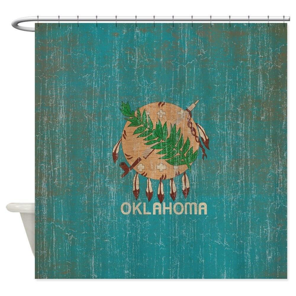 Vintage Oklahoma Flag - Decorative Fabric Shower Curtain (69x70)