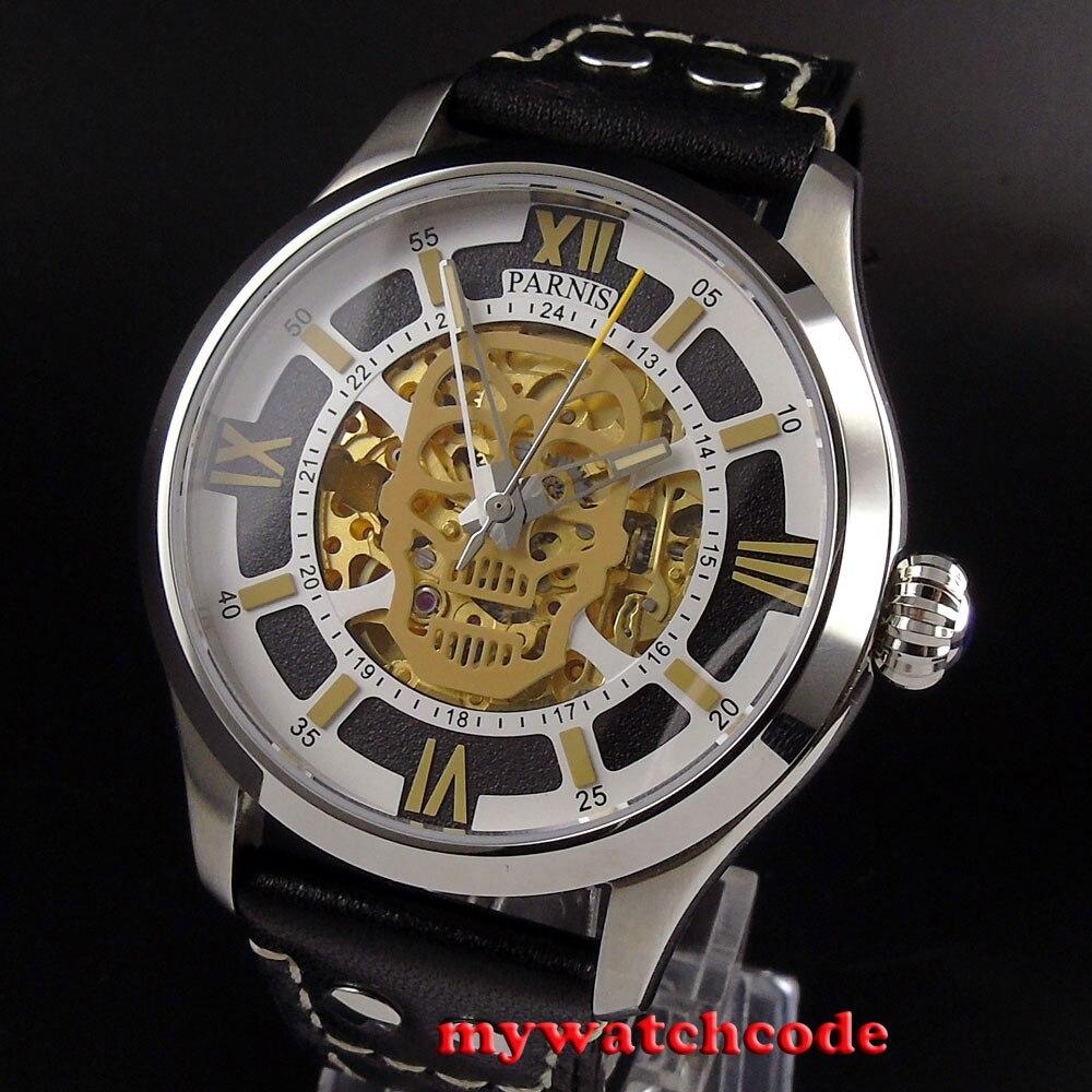 45 мм Parnis Скелет сапфировое стекло золото miyota автоматический механизм мужские часы 525