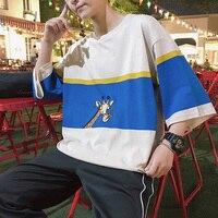 T Shirt Men Short Sleeve Cotton White Printed Sika Deer Funny T shirts Harajuku Loose Casual Tshirt Fashion Japanese Streetwear