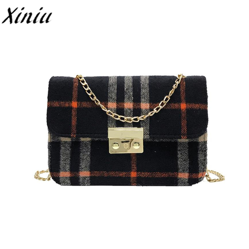 Xiniu plaid wool handbag s women bags designer woman handbag winter 2017 hasp womens handbags women crossbody bags chains #WMSS ...