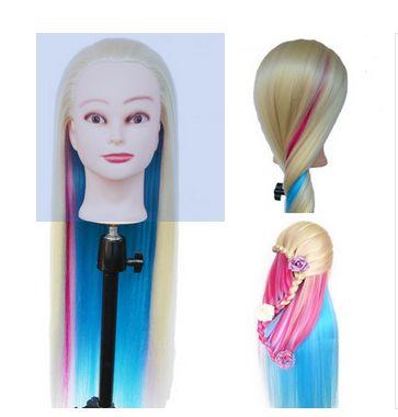 Tête de mannequin factice de cheveux d'arc-en-ciel de tête d'entraînement de cheveux longs de 60 cm avec la tête de poupées de femmes de cheveux avec des cheveux