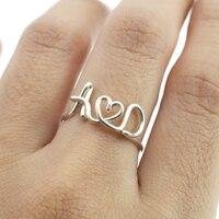 PINJEAS Personalizado DIY Nome Anéis Letra Inicial Handmade Amantes Anel Personalizado para a mãe presente criativo