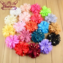 Nishine 50pcslot 32 Ruffled Chiffon Flowers With Gold Dots Flat Back Diy Fabric Flower For Girls Headband Hair Clips Garment