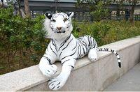 Simulação tigre branco grande 85 cm propenso tiger brinquedo de pelúcia lance boneca travesseiro presente de aniversário 0392