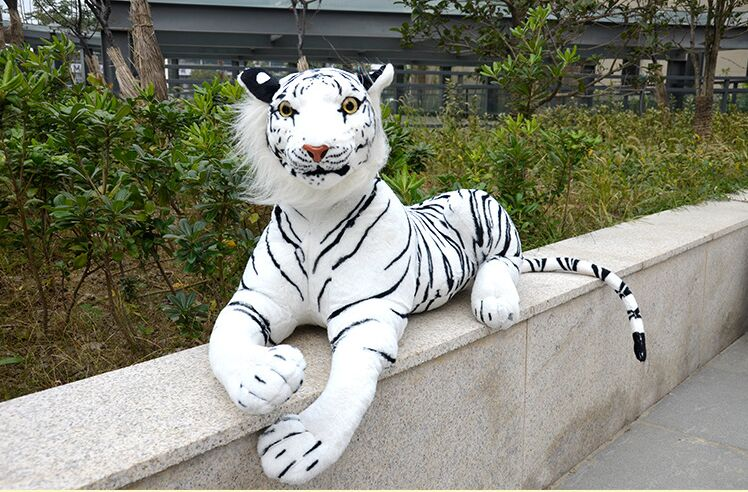 simulation white tiger large 85cm prone tiger plush toy doll throw pillow birthday gift 0392 stuffed animal 145cm plush tiger toy about 57 inch simulation tiger doll great gift w014