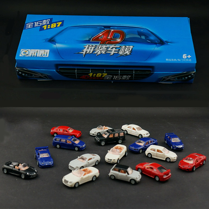 16PCS/Set 4D Plastic Assembled Car Scale 1:87 Modern Cars Collection Puzzle Assembling Toys For Children