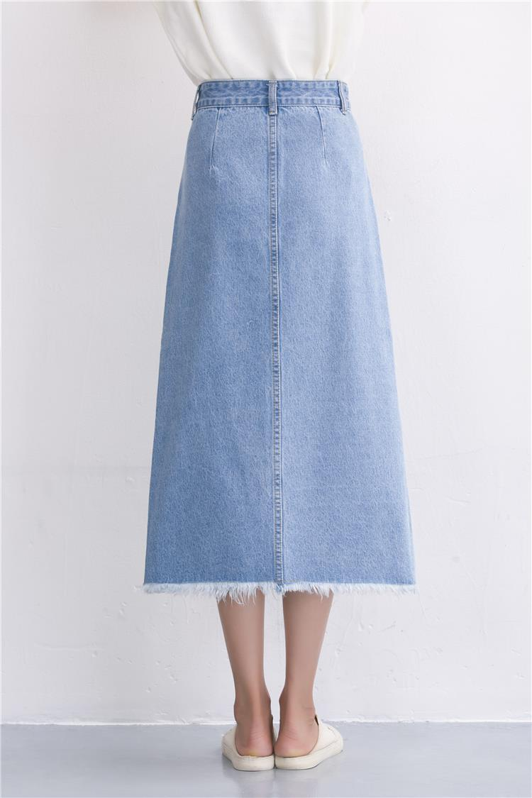 Slits a word denim skirt female 2016 new winter high waist a word length denim skirt 22