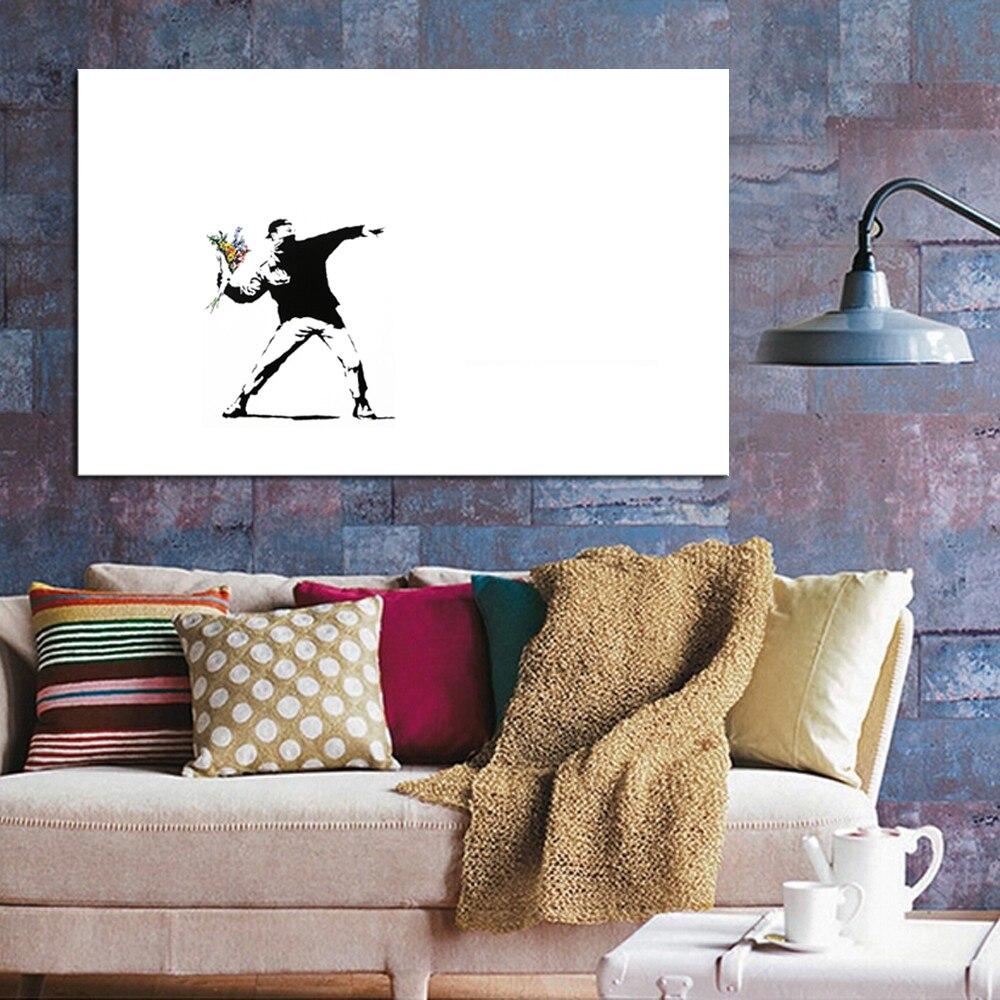 wohnzimmer wand poster : Banksy Blume Werfer Stra E Kunstwerk Auf Leinwand Poster Wand
