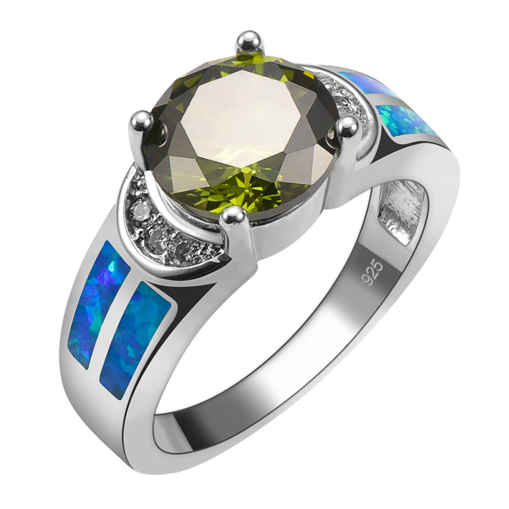 Peridot With Blue Fire Opal 925 Sterling Silver Ring Beautiful Jewelry Size 6 7 8 9 10 R1493