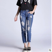 2017 Women Jeans American Apparel Chic Sexy Hole Distressed Jeans Women Jeans Denim Pants