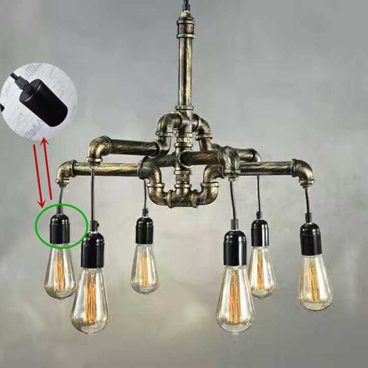 Loft vintage handmade American country iron antique brass water pipe pendant lamp brass finished iron cover with plastic sockets edison chandelier vintage d220mm e27 black finished iron shade industrial pendant lamp ac110 240v with brass finished socket