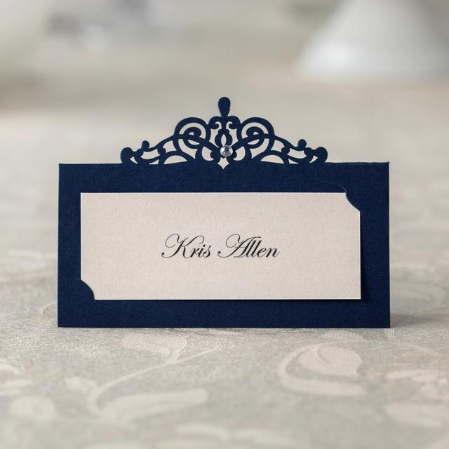 24 Pcs Blue Paper Table Number Card Name Place Holder For Wedding