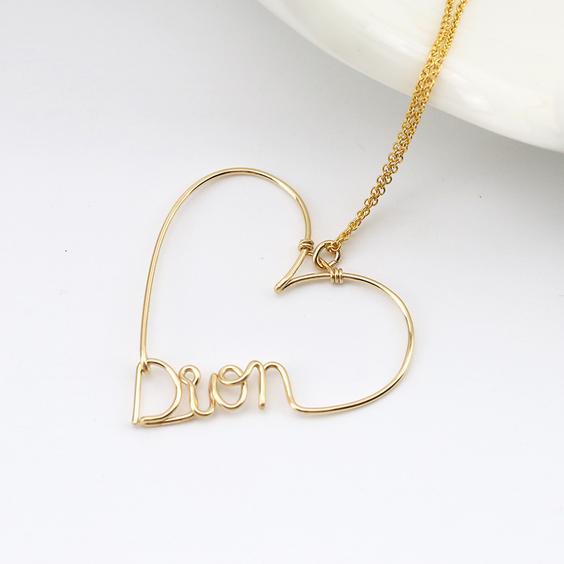 PINJEAS Personalized Name Necklace Custom Name Heart letter ...