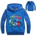 Primavera & Outono Carta Impressão PJMASKS Bebê Meninos Hoodies Da Forma Do T-camisas Crianças Casacos Meninas Dos Desenhos Animados Bonitos Tops