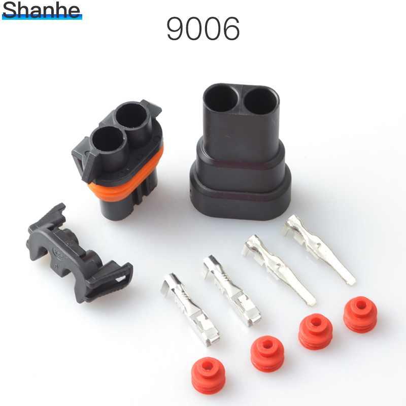 2 P Waterdichte Automotive Wire Connector Plug 2 Pins Elektrische Auto Motor Hid 2.8 Terminals 9006