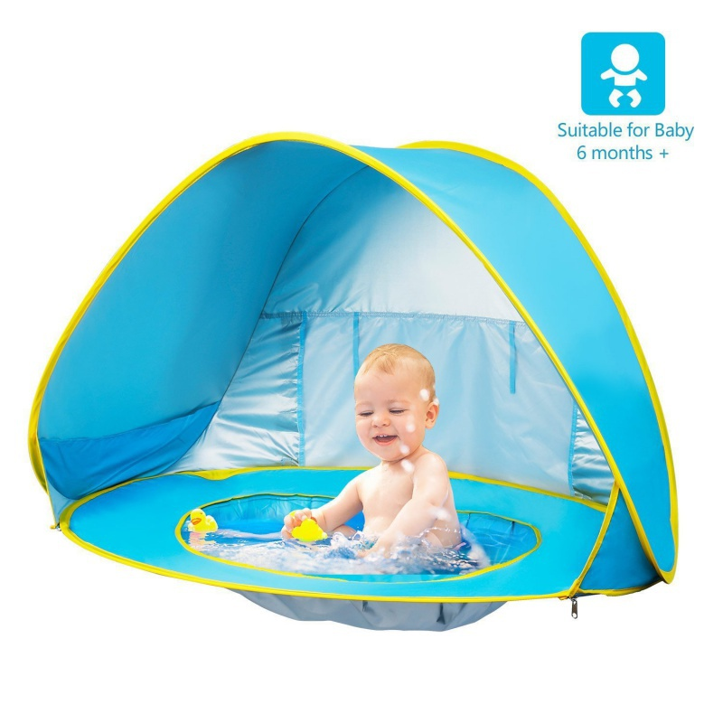 Baby Sunshade Beach Tent UV-Protecting Sun Shelter with a Water Pool Waterproof Pop Up Tent Kid Camping With a Storage bag