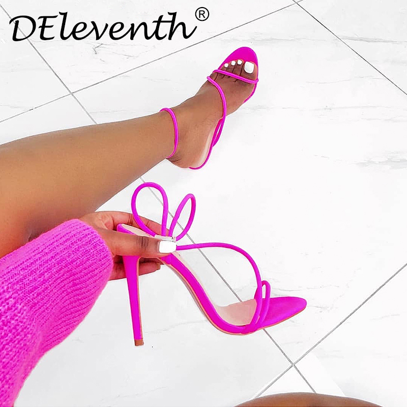 DEleventh Deleventh Sandals Women Fashion sexy Summer Sandals peep toe Stiletto high heels shoes 10.5 size shoes