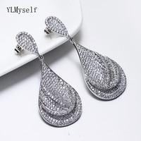 Luxury wedding jewelry supplier big cubic zirconia earring shiny crystal party jewellery White female large drop earrings