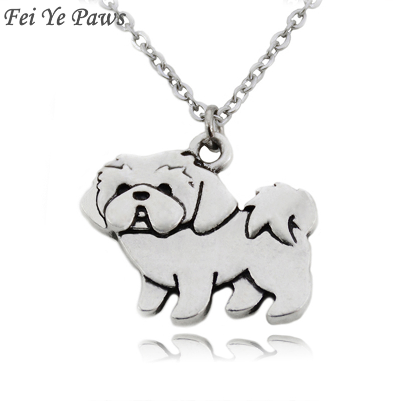 Fei Ye Paws Vintage Boho Shih Tzu Dog Charms Pendant Necklaces For Girls Pendant Stainless Steel Chain Animal Necklace Women